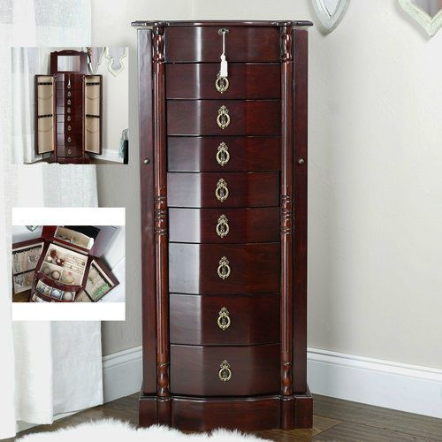 Standing-Jewelry-Armoire-Box-Wood-Cabinet-Tall-Antique-Walnut-Chest-Stand-Lock