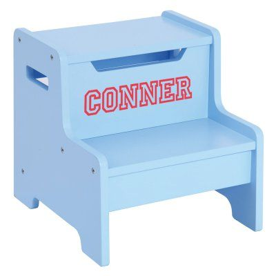 Guidecraft Expressions Blue Step Stool with Personalization Brown - G87606-102-203-305, ID730-133