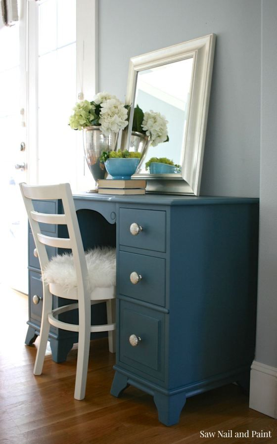 Seaside Blue Vanity | Saw Nail and Paint