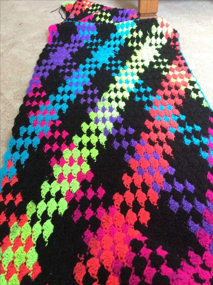 Neon stripes red heart yarn  Afghan crochet patterns, Afghan crochet patterns easy