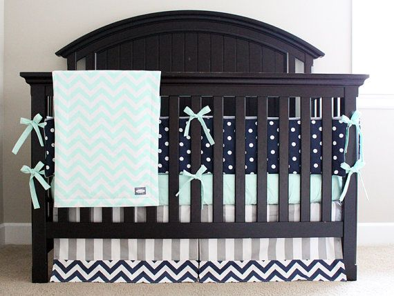 Custom Crib bedding Mint Navy and Grey Baby by GiggleSixBaby
