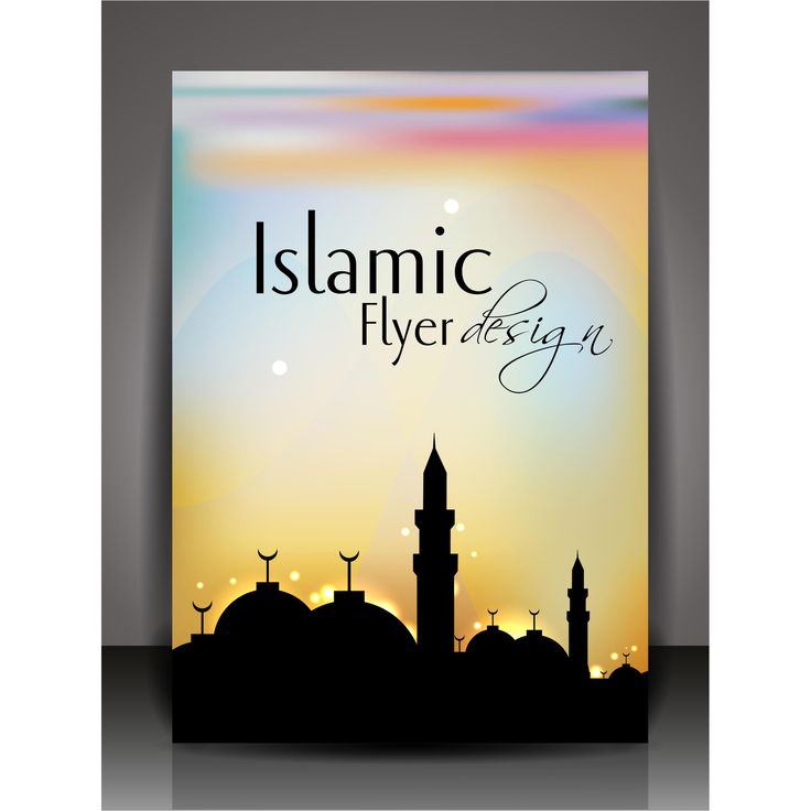 Ramadan Vector sillhouette mosque with color ful background Islamic flyer page Design illustration