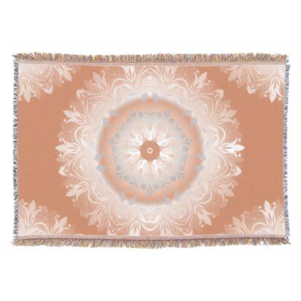 #Ombre Copper White Floral Mandala Throw Blanket - #floral #gifts #flower #flowers