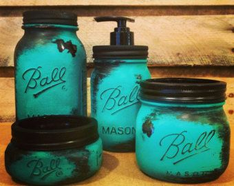 This Beautiful Rustic Turquoise Mason Jar Bathroom Set Or Turquoise Mason  Jar Desk Set Is The Perfect Office Decor Or Bath Accessory Set For Your  Rustic, ...