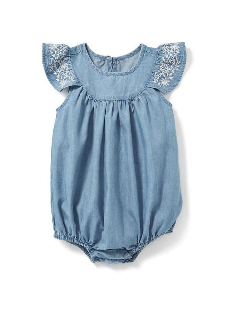 Embroidered Chambray Romper | Old Navy