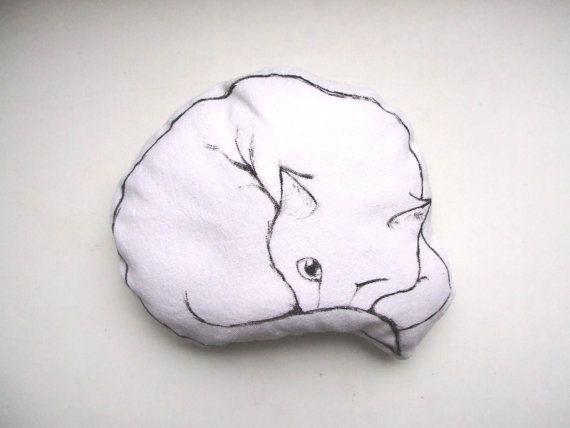 cat pillow cat black and white decorative pillow cute hand painted drawn soft toy home decor on Etsy, $21.09
