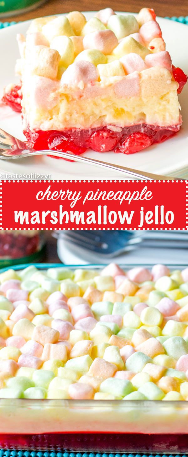 This Cherry Pineapple Marshmallow Jello Salad is a long-time family favorite recipe. There's a cherry layer paired with a tangy lemon cream cheese layer. Cherry Pineapple Marshmallow Jello {Layered Fruit Dessert Recipe} via @tastesoflizzyt