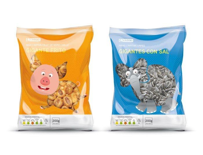 + Design de embalagem :     Simpáticas as embalagens criadas pela Supperstudio, para a marca de salgadinhos Eroski.