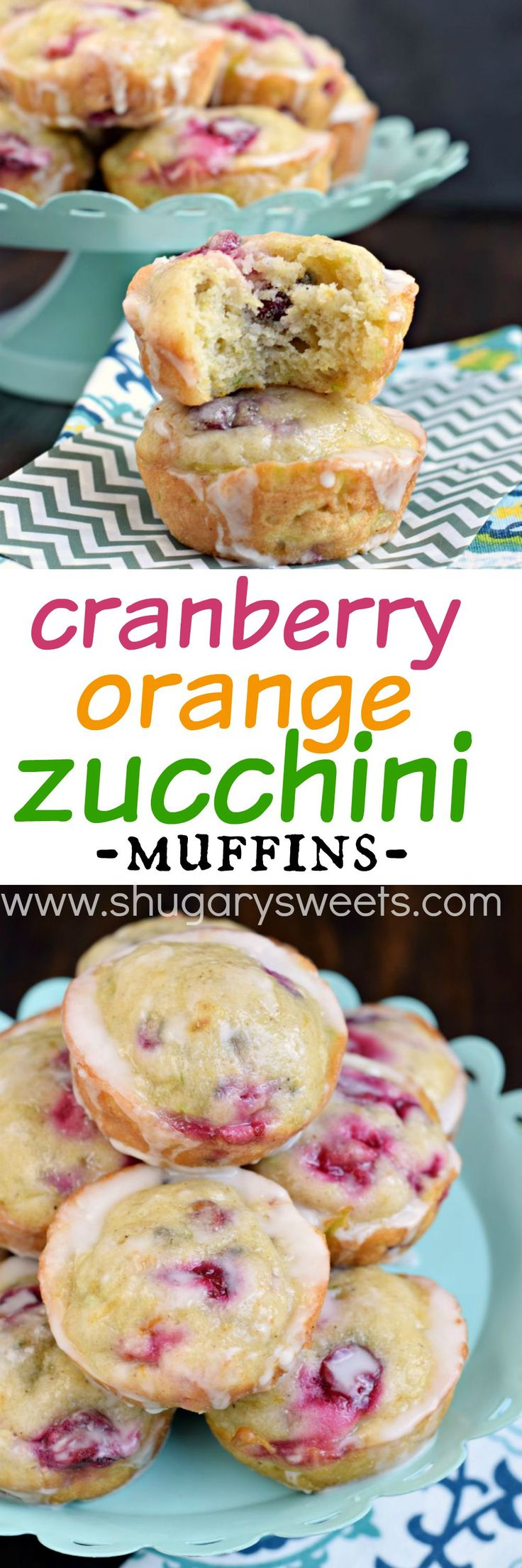 Cranberry Orange Zucchini Muffins | Shugary Sweets |  are packed with flavor! And that orange glaze is a perfect finish!