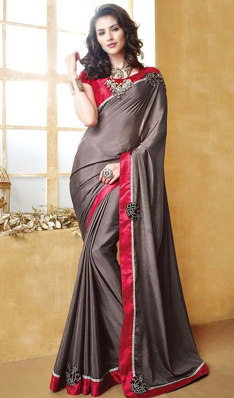 Be an exclusive princess of luxury dressed in this gray color raw silk and chiffon saree. You could see some interesting patterns carried out with stones and resham work. Upon request we can make round front/back neck and short 6 inches sleeves regular sari blouse also. #satinsareeonline #onlinesaricollection #chiffonsaris