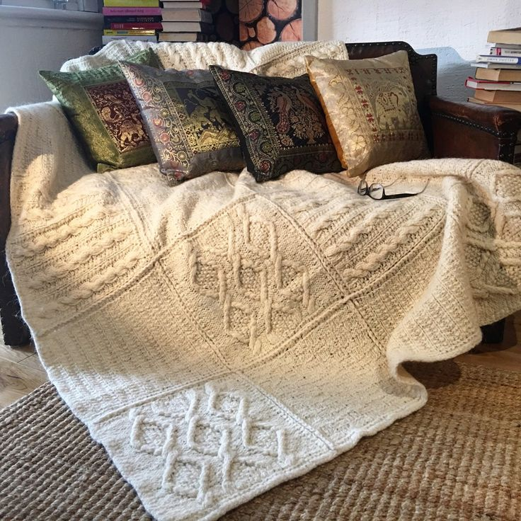Snowy white Afghan, slightly felted warm and cosy. More blankets at https://www.etsy.com/uk/shop/LooseLoop