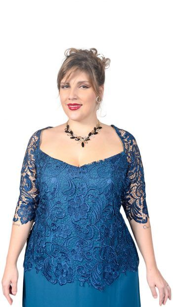 b394bf260284 Vestido Plus Size Longo em Renda Guippir e Musseline – Moda Maior Plus Size