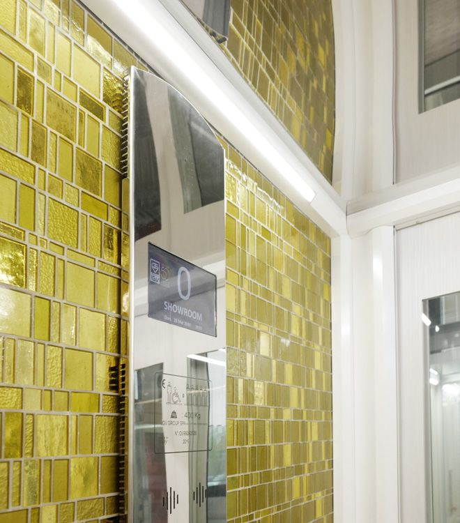The unique Liberty mosaic which enhance and beautify DomusLift surfaces.