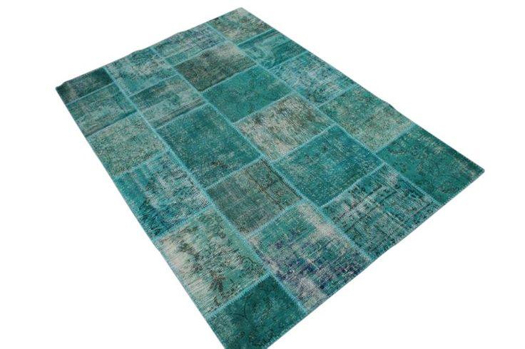 Patchwork vloerkleed, blauw, 238cm x 167cm   | Rozenkelim.nl - Groot assortiment kelim tapijten