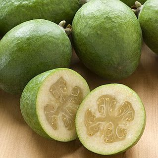 #Colombian #fruit: #Feijoa - sometimes referred to as pineapple guava, feijoa is usually blended into a tasty juice. It is also commonly used in skin creams.