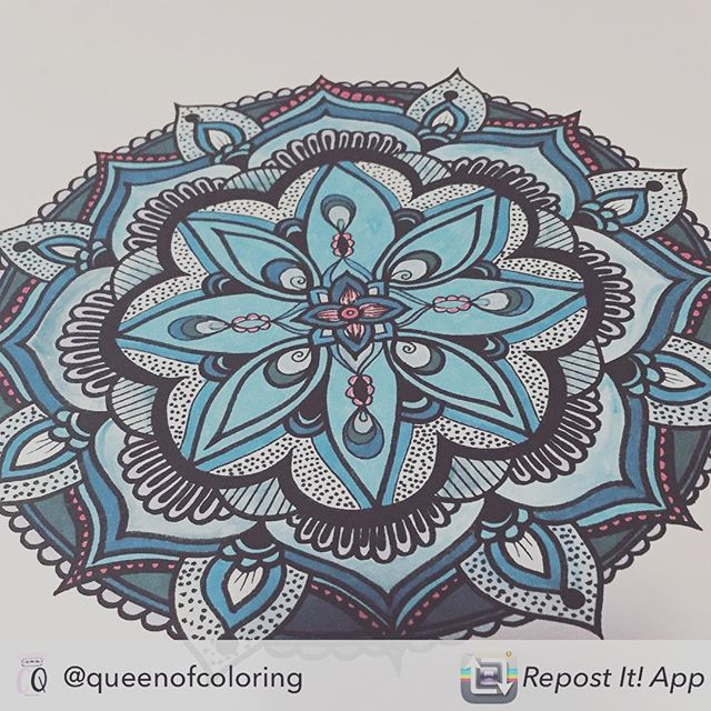 Another beautiful colored in mandala from 'The Book of Mandalas' adult coloring book by @queenofcoloring ! Thank you! Repost from @queenofcoloring using @RepostRegramApp - Feeling blue ☄ #coloringbook #relaxtion #arttherapy #mandala #handmade #colouring #drawing #etsy #handdrawn #art #mandalatattoo #mandalaart #coloringbook #colorpencil #colorir #colorear #zentangle #mindfulness #funtime #felnőttszínező #szinezo #kleuren #blue #wintercolors #ice #floral #doodle