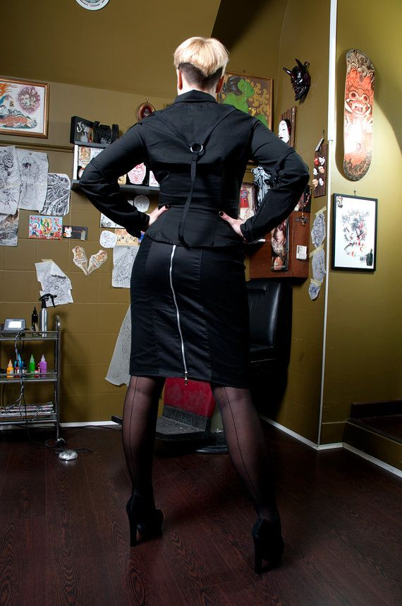 Black cotton and fishnet pencil skirt longuette by Sclothing