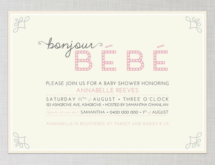 French Baby Shower Invitation in Pink - Bonjour Bebe (Printable). $21.00, via Etsy. @Elaine Hwa Young Burum