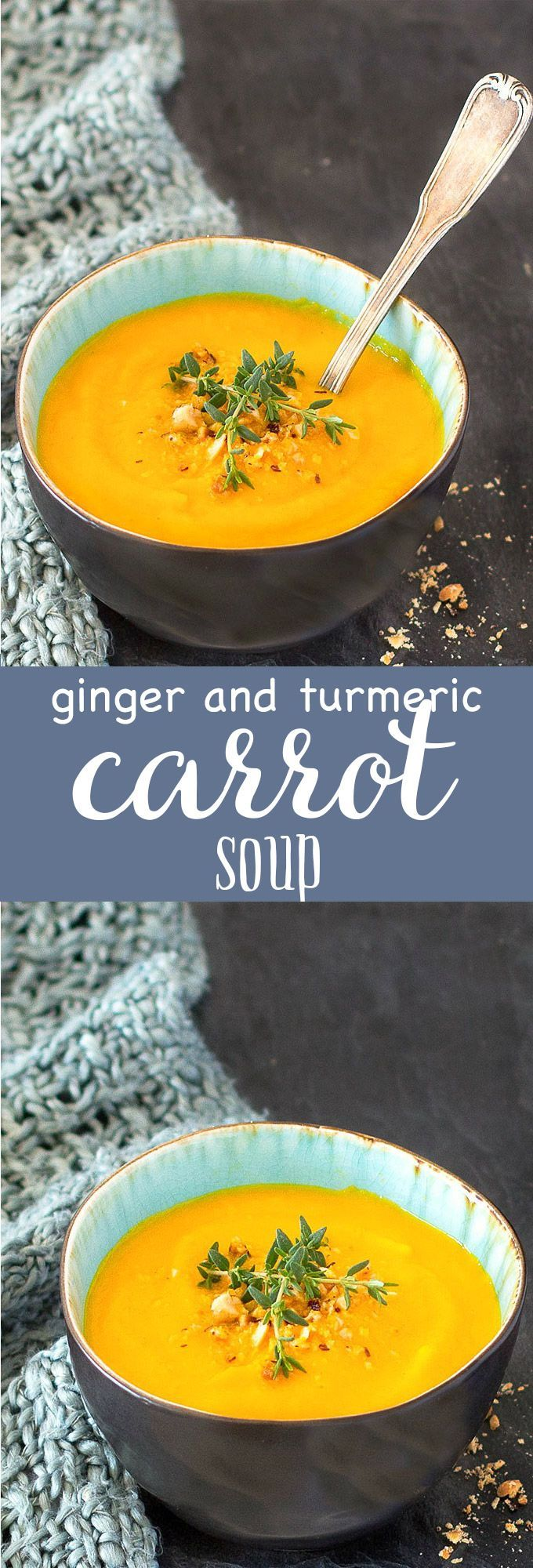 Simple ginger and turmeric carrot soup: creamy, satisfying, nourishing and flavorful. Serve it alongside a salad for a light lunch or as a starter for dinner or brunch