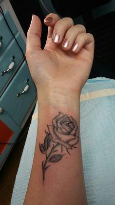 Black and grey rose tattoo, wrist, by Tim Gillman, Webbworks Tattoo, Naples, FL. This guy is amazing!