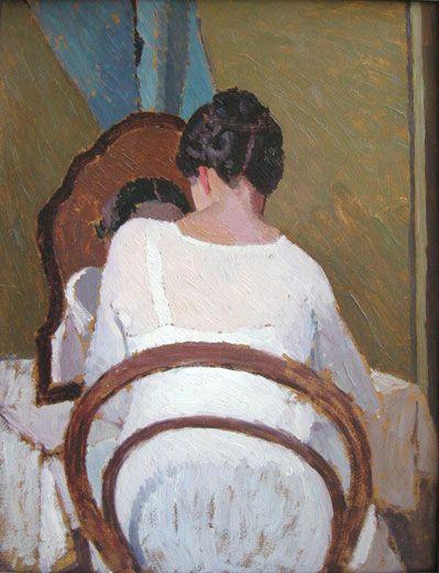 Donna allo specchio ( Lady before the Mirror) - Oscar Ghiglia   Italian  1876-1945