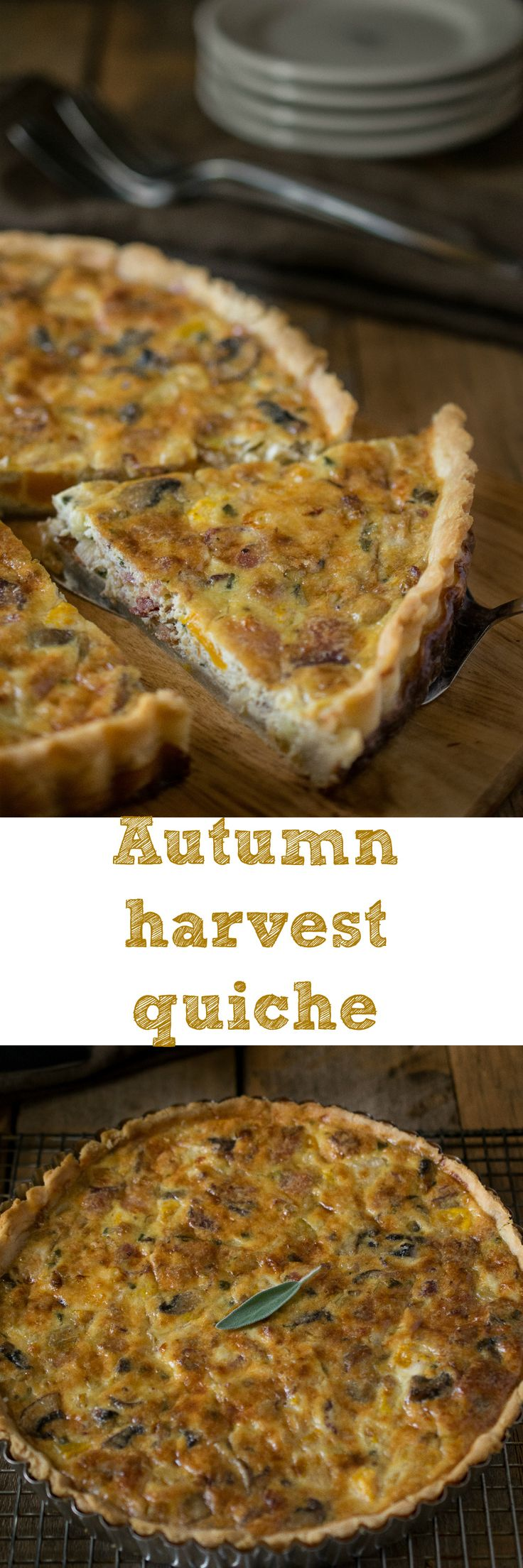 Autumn harvest quiche - Buttery, flaky crust with a mushroom, bacon, butternut squash, leek and sage filling. #autumn #vegetables #fall #quiche