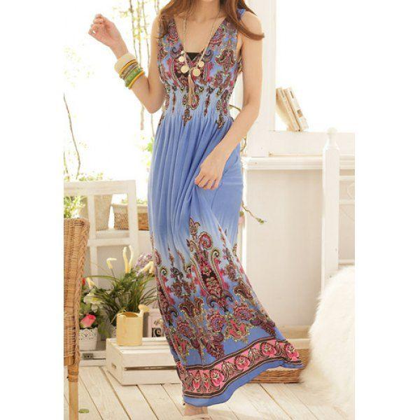 $11.90 Sweet V-Neck Printed Sleeveless Women's Bohemian Dress