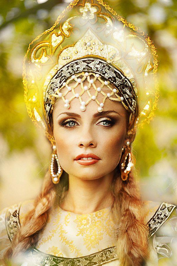 Russian, kokoshnik headdress.
