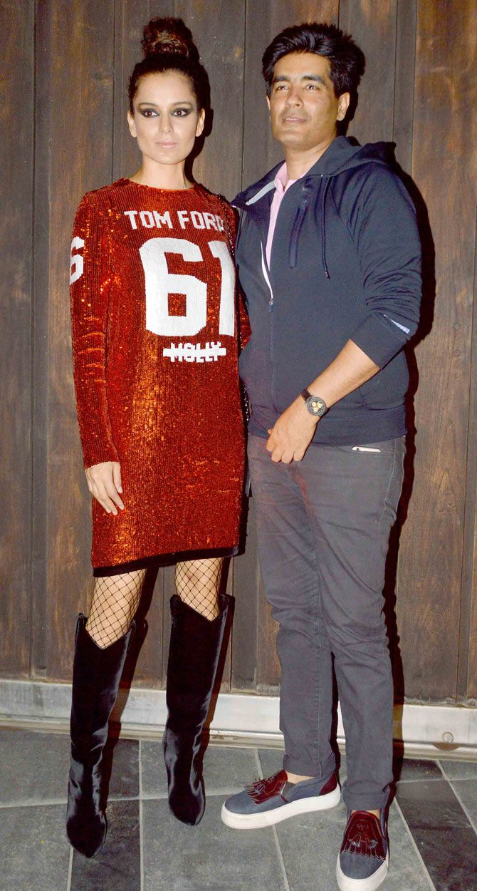 Kangna Ranaut and Manish Malhotra at Vikas Bahl's bash. #Bollywood #Fashion #Style #Beauty