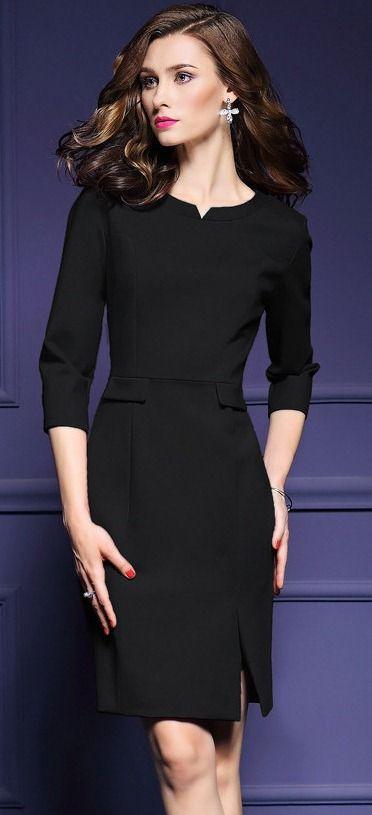 Black 3/4 Sleeves Sheath Dress