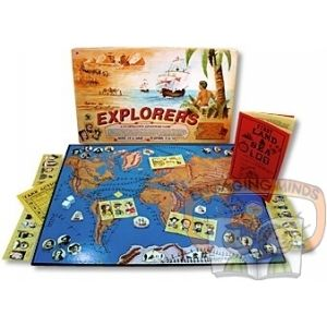 The adventure scenarios in this game are the actual journeys of such explorers as Marco Polo, Nansen, Scott, Drake, Cook, etc.  Players pick a journey, make preparations, assemble crews, and venture forth. They make the trip together, each handling different aspects of the expedition. Lots of adventure, and an educational eye-opener about the life of explorers. A good family and classroom game.