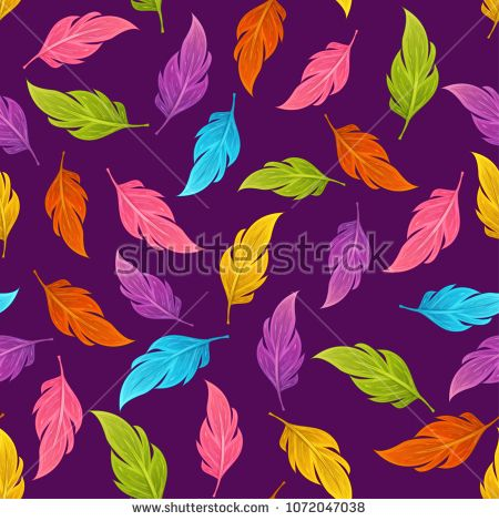 Seamless vector pattern with magical colorful feathers. Perfect for textile, covers, wallpapers and other design works