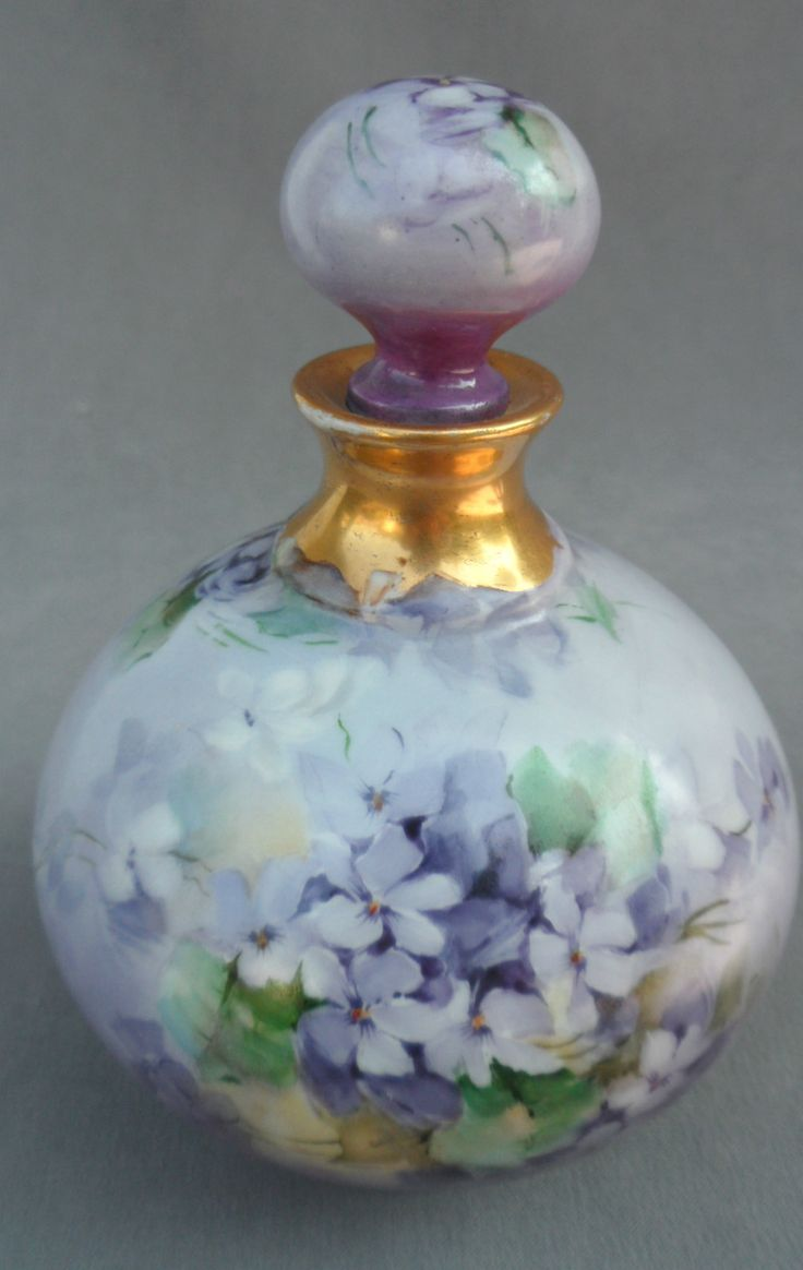 Antique 1903 Limoges French Perfume Bottle R Delinieres Lavender Violets