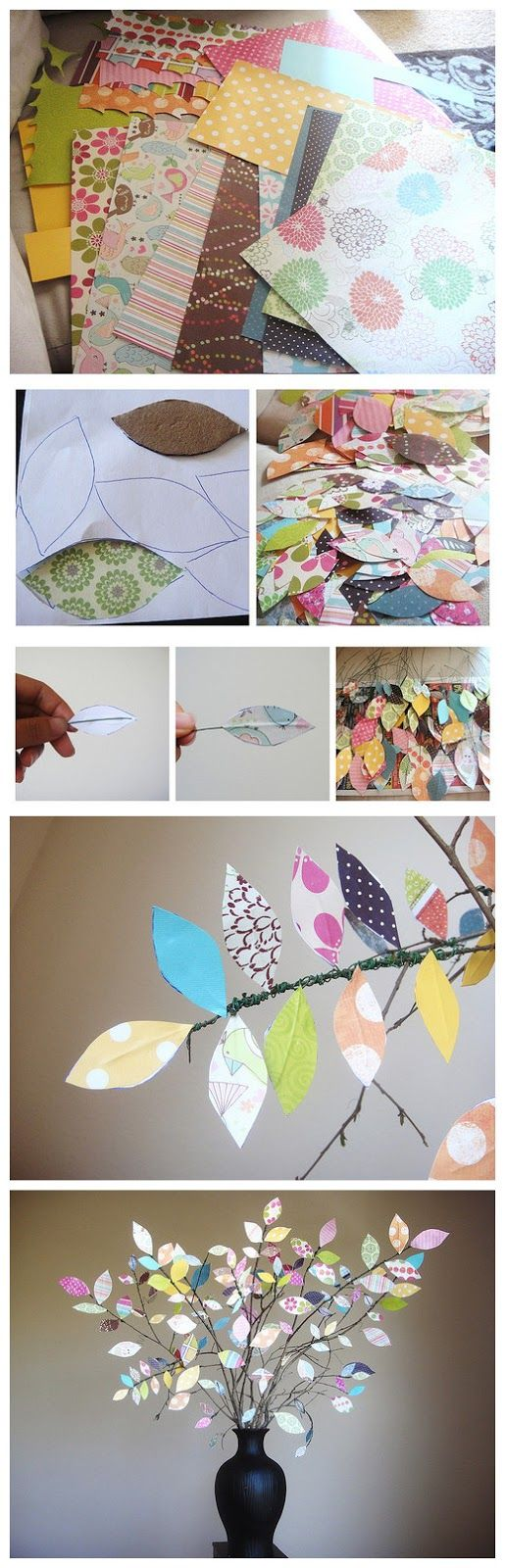 diy scrapbook paper branches http://www.everydaymomideas.com/2011/03/scrap-paper-tree-centerpiece-tutorial.html