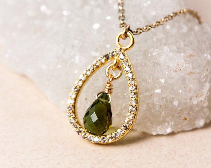 Gold Green Tourmaline Teardrop Necklace- Tourmaline Pendant - Diamonds, Gold Filled