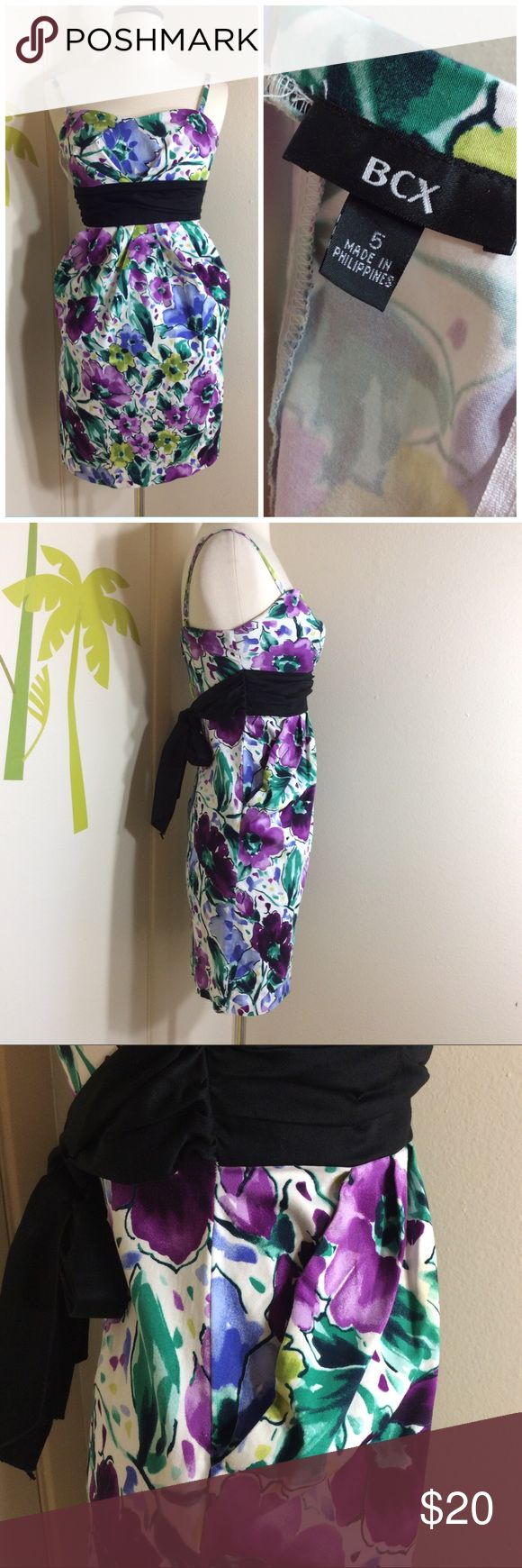 BCX Junior Purple Multi Color Cocktail Dress Sz 5 In great condition. Adjustable Spaghetti Strap Dress. Two side pockets. Ties back. BCX Dresses Mini