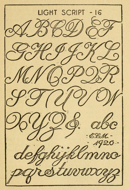 Light Script, vintage alphabet ~ How to paint signs and sho' cards, E.C. Matthews,1920