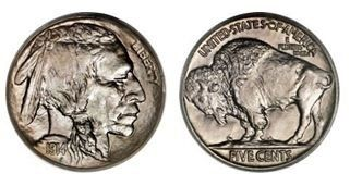 http://coins.about.com/library/US-coin-values/bl-US0005-Buffalo-Nickel-Values.htm   Buffalo Nickel (minted from 1913 to 1938)  Also called Indian Head Nickels.