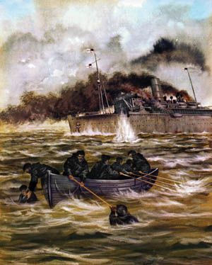 Crewmen of the stricken HMS Rawalpindi occupy one of only three serviceable lifeboats and attempt to rescue fellow sailors as their ship is pounded relentlessly by the German battlecruisers Scharnhorst and Gneisenau.