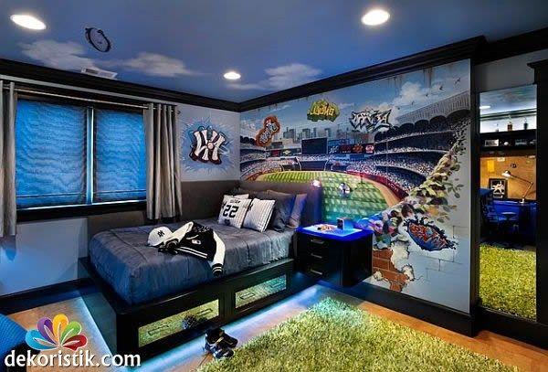 mavi erkek genç odası