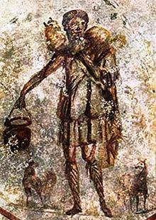 Good Shepherd representing Christ. fresco from the Catacombs of San Callisto.mid 3rd century A.D.