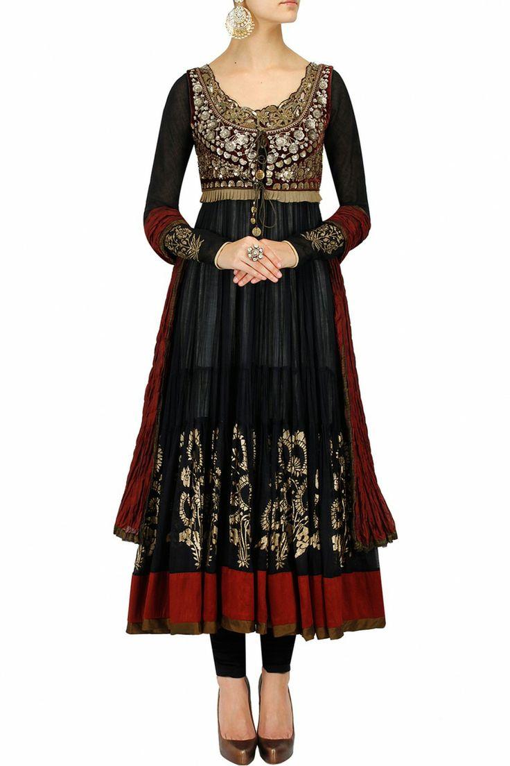 Black and maroon embroidered #Anarkali via http://Blog.PerniasPopupShop.com/