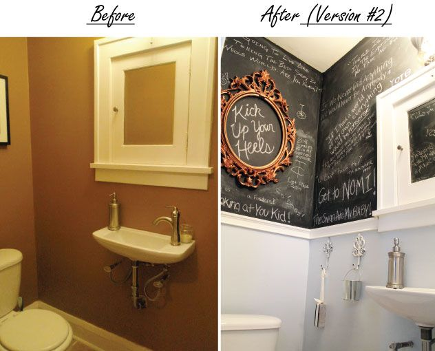 Chalk board- let your guest write notes on the wall :): House Tours, Chalkboards, Powder Room, Bathroom Chalkboard, Chalk Board, Chalkboard Paint, Chalkboard Bathroom, Bathroom Ideas, Bathroom Walls