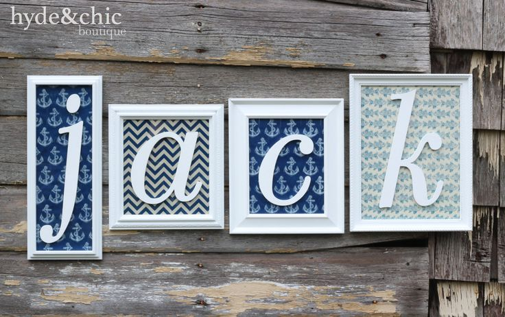 Baby boy nursery wall decor. Custom name monogram frames perfect for above the crib or changing table. Customize your colors, backgrounds and letters with Hyde&Chic Boutique.