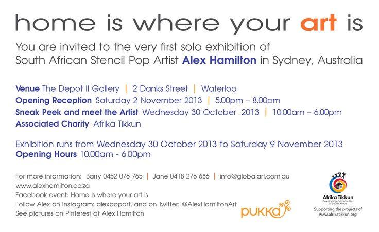 Invitation : Alex Hamilton Exhibition, Sydney, Australia Oct 2013