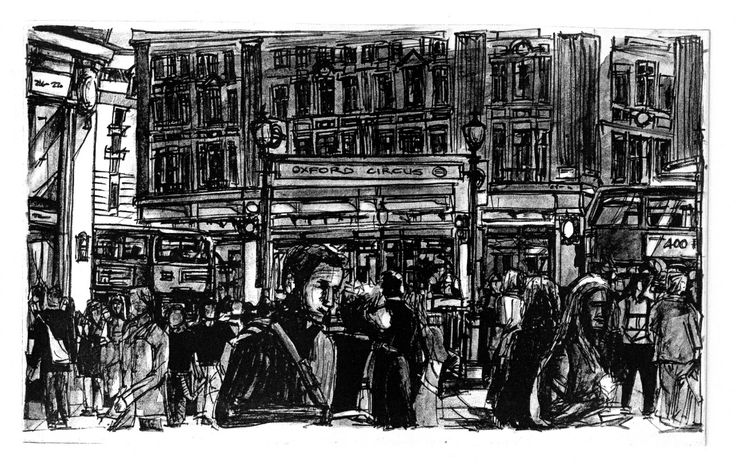 Oxford Circus London (2006) -   Limited edition etching on Fabriano papers.