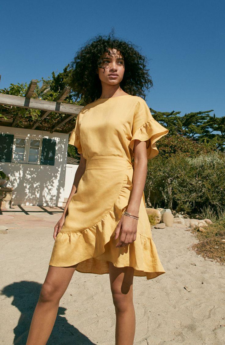 Ruffle Linen Blend Wrap Dress