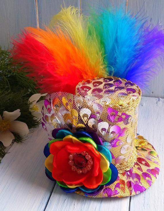 8e3ffb20da738 Mini Top Hat Headband Rainbow Mini Top Hat Mad Hatter Hat Tea Party ...