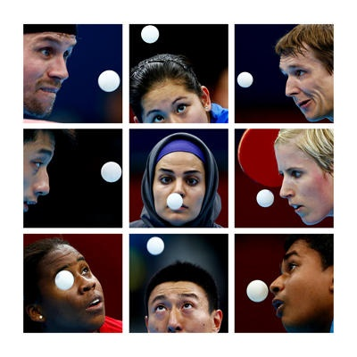 London 2012 Olympics - A combination picture shows table tennis players watching the ball during the London 2012 Olympic Games.
