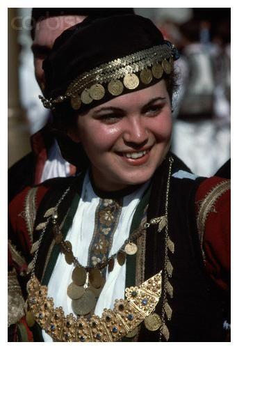 The Greek Folk Costume Karditsa, Thesalia.  She is a Karagouna.